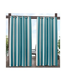 "Exclusive Home Canopy Stripe Indoor/Outdoor Grommet Top 54"" X 96"" Curtain Panel Pair"