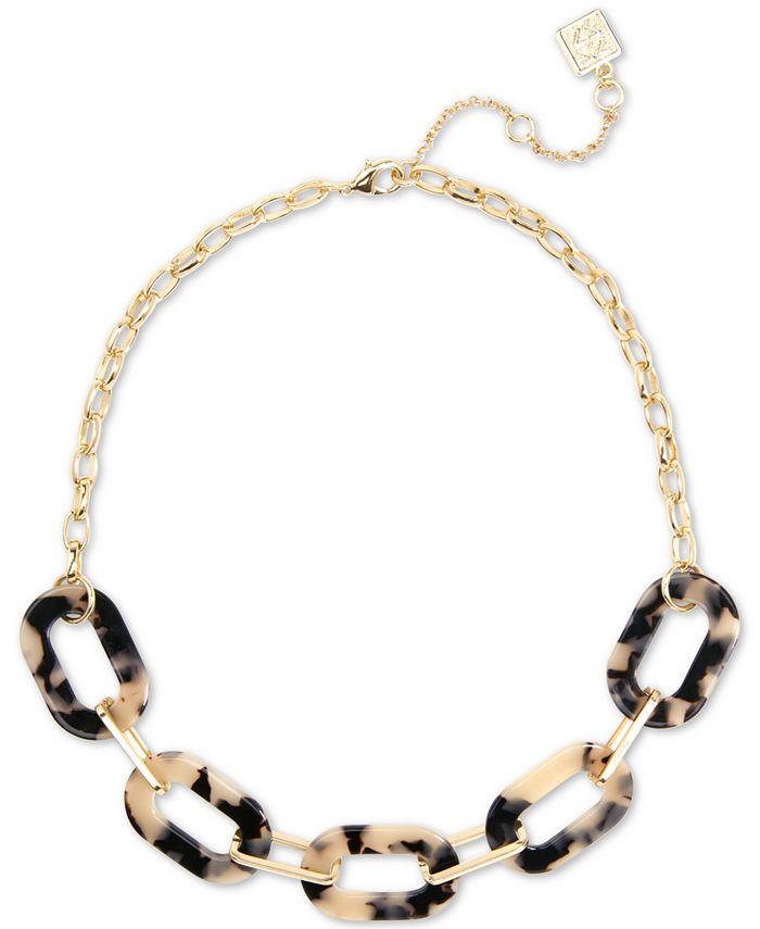 """Zenzii - Gold-Tone Tortoise-Look Link Collar Necklace, 17-1/2"""" + 3"""" extender"""