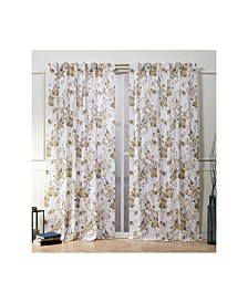 "Nicole Miller Lillian Floral Cotton Hidden Tab Top 50"" X 96"" Curtain Panel Pair"