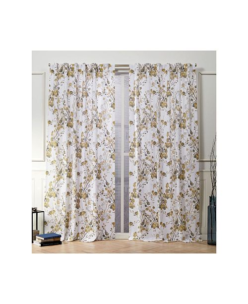 "Exclusive Home Nicole Miller Lillian Floral Cotton Hidden Tab Top 50"" X 96"" Curtain Panel Pair"