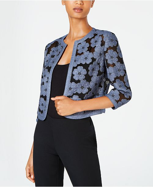 Floral Chambray Mesh Open Front Cardigan