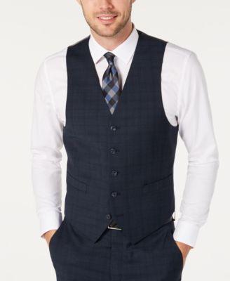 Men's Classic-Fit Airsoft Stretch Teal Plaid Suit Separate Vest