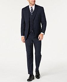 Michael Kors Men's Classic-Fit Airsoft Stretch Teal Plaid Suit Separates