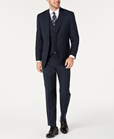 Michael Kors Men's Classic-Fit Airsoft Stretch Teal Plaid Suit Separates