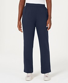 Karen Scott Petite Classic Fleece Elastic Waist Pants, Created for Macy's