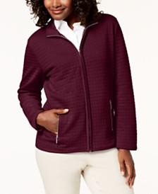 Karen Scott Quilted Fleece Zip Jacket, Created for Macy's