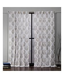 "Nicole Miller Tabitha Damask Print Cotton Hidden Tab Top 50"" X 84"" Curtain Panel Pair"