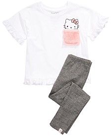 Little Girls Fuzzy-Pocket T-Shirt & Leggings Set