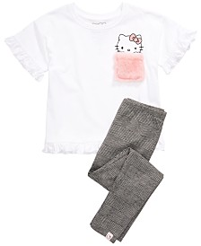 Hello Kitty Little Girls Fuzzy-Pocket T-Shirt & Leggings Set
