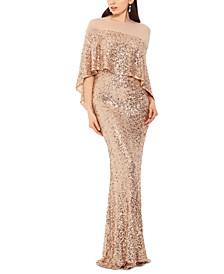 Sequin & Mesh Overlay Gown