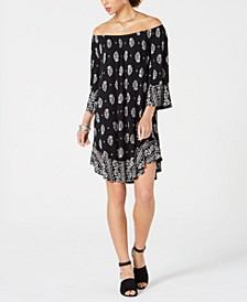Printed Off-The-Shoulder Shift Dress, Created for Macy's