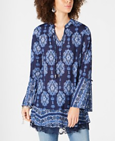 Style & Co Petite Printed Bell-Sleeve Tunic, Created for Macy's