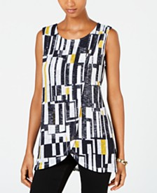 Alfani Printed-Overlay Top, Created for Macy's