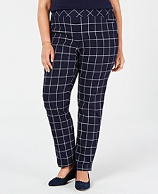 Plus Size Lexia Windowpane Plaid Pants, Created for Macy's