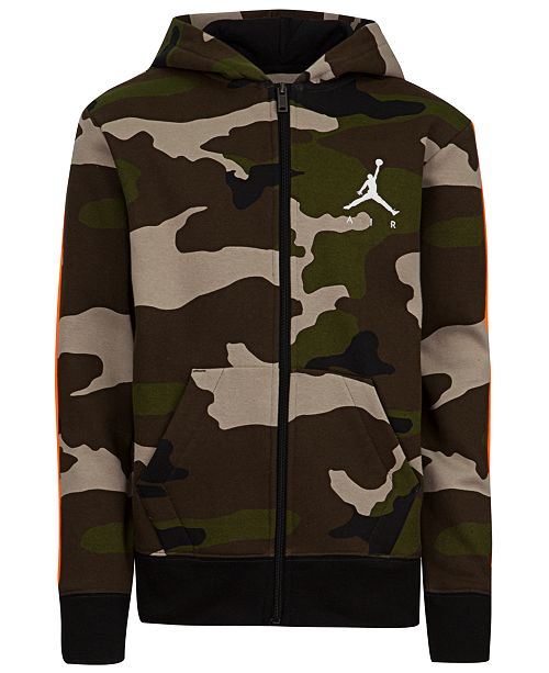 Big Boys Camouflage Zip Up Hoodie