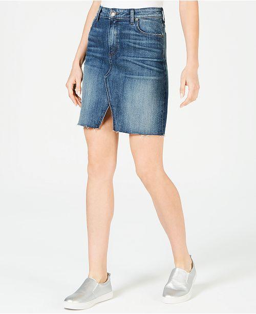 Kut from the Kloth Hannah Raw-Hem Denim Skirt