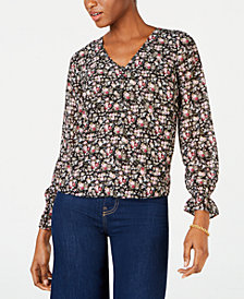 Maison Jules Printed V-Neck Blouse, Created for Macy's