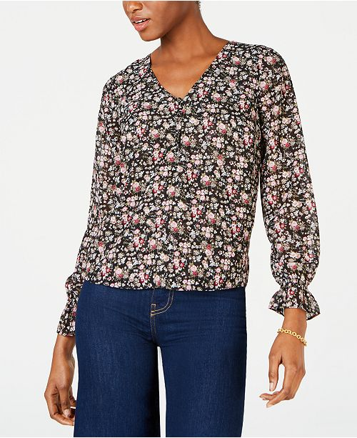 Maison Jules Floral-Print V-Neck Blouse, Created for Macy's