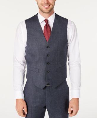 Men's Modern-Fit THFlex Stretch Blue Plaid Suit Separate Vest
