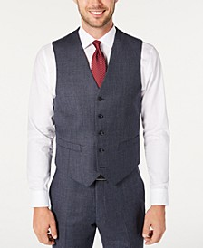 Men's Modern-Fit THFlex Stretch Blue Plaid Suit Separate Vest