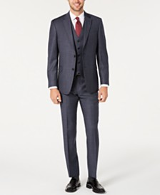 Tommy Hilfiger Men's Modern-Fit THFlex Stretch Blue Plaid Suit Separates