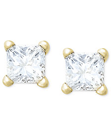 Princess-Cut Diamond Stud Earrings in 10k Yellow or White Gold (1/5 ct. t.w.)