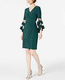 Petite Illusion Bell-Sleeve Dress