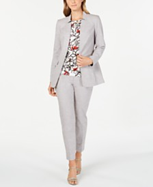 Calvin Klein Star-Neck Jacket, Printed Pleat-Neck & Straight-Leg Pants