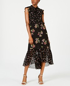 Taylor Floral Chiffon Ruffled Midi Dress