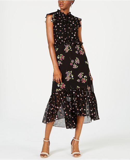 Taylor Floral Chiffon Ruffled Midi Dress
