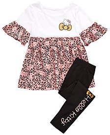 Little Girls Leopard-Print Top & Leggings Set