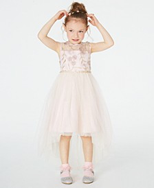 Little Girls Illusion Neck Embroidered High-Low Dress, Created for Macy's