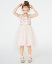 Rare Editions Little Girls Illusion Neck Embroidered High-Low Dress, Created for Macy's