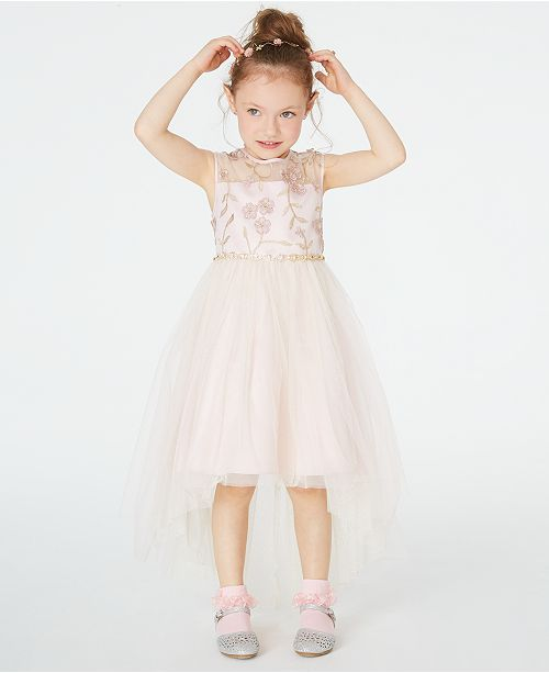 Rare Editions Toddler Girls Illusion Neck Embroidered High-Low Dress, Created for Macy's