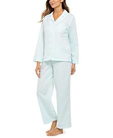 Petite Jacquard Brushed Back Satin Pajama Set