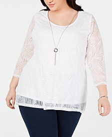 Plus Size Textured Necklace Top, Created for Macy's