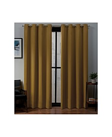 "Exclusive Home Sateen Twill Woven Blackout Grommet Top 52"" X 96"" Curtain Panel Pair"
