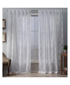 "Exclusive Home Aberdeen Sheer Woven Trellis Embellished Hidden Tab Top 54"" X 96"" Curtain Panel Pair"