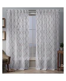 """Aberdeen Sheer Woven Trellis Embellished Hidden Tab Top Curtain Panel Pair, 54"""" x 84"""""""