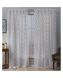 "Bradford Sheer Woven Ogee Embellished Hidden Tab Top Curtain Panel Pair, 54"" x 96"""
