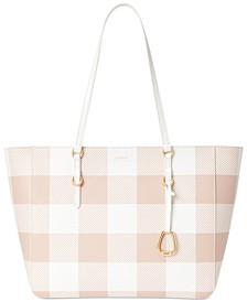 Saffiano Leather Gingham Tote