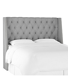 Cal King Nail Button Tufted Wingback Headboard