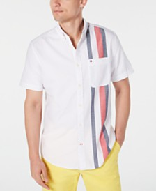 Tommy Hilfiger Men's Hanger Custom-Fit Engineered Stripe Shirt