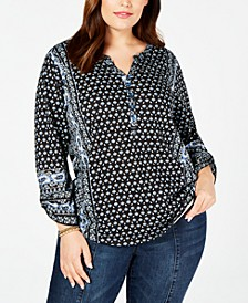 Plus Size Printed Split-Neck Top, Created for Macy's