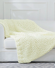 Cheer Collection Chunky Cable Knit Throw Blanket
