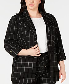 Calvin Klein Plus Size Windowpane-Print Roll-Tab Jacket
