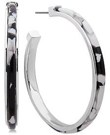 """DKNY Medium Colored Acetate Open Hoop Earrings 1-3/4"""""""