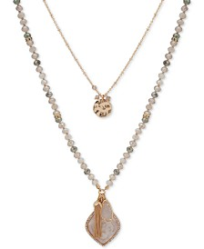 "lonna & lilly Gold-Tone Crystal, Stone & Chain Tassel Beaded Double-Row Pendant Necklace, 18-1/2"" + 3"" extender"