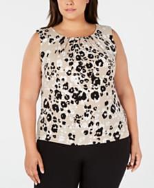 Calvin Klein Plus Size Floral-Print Tank Top
