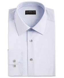 Alfani Men's AlfaTech Classic/Regular-Fit Performance Stretch Moisture-Wicking Wrinkle-Resistant Cube-Print Dress Shirt, Created for Macy's